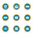 corolla icons set flat style vector image