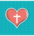 cross inside the heart design vector image vector image
