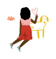 cute kneeling african american girl drawing dog on vector image vector image