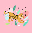 cute striped tiger jungle cat print vector image vector image