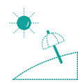 dotted shape island with sun weather and umbrella vector image