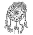 dream catcher with ornament and roses vector image vector image