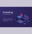 financial technology isometric layout with vector image