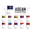 flag asean association southeast asian vector image vector image