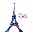 Floral Eifel Tower Paris On St Valentines vector image