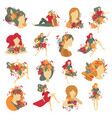 girls portraits autumn decorations icons vector image