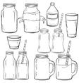 Glass bottles sketches set vector image vector image