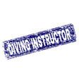 grunge diving instructor framed rounded rectangle vector image