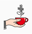 hand hold coffee male hand holding red coffee cup vector image vector image