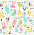 happy easter seamless pattern with eggs bunny vector image