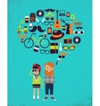 Hipster speech bubble with icons and stylish young vector image vector image
