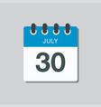icon calendar day 30 july summer days year