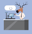 man at the checkout with deer head irony sarcasm vector image