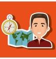 man map world global travel vector image vector image