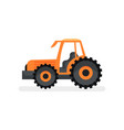 orange tractor with large wheels agricultural vector image