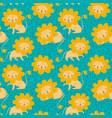 pattern cute kawaii cartoon funny lion vector image vector image