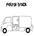 Petrol truck with hand draw vector image