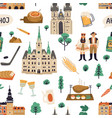 seamless pattern with national symbols czech vector image