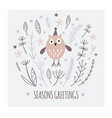 seasons greetings card design cute owl in hat vector image