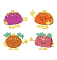 Set cartoon smiling purses vector image