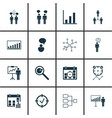 set of 16 board icons includes opinion analysis vector image