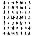 silhouettes of families at walking vector image