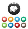 sleeping sheep icons set color vector image