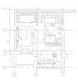 standard furniture symbols on floor house plans vector image vector image