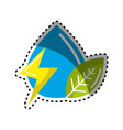 sticker drop of water with energy sign and leaf vector image vector image