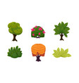 summer plants set cute cartoon fantasy bushes and vector image vector image