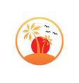 sunset palm tree beach tropic logo vector image vector image
