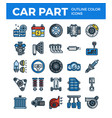 vehicle and car parts outline color icons pixel vector image vector image