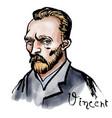 vincent van gogh watercolor portrait vector image