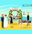 wedding catering orthogonal flat composition vector image vector image