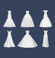 white dresses wedding clothes for beauty woman vector image