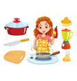 Woman cooking and kitchenwares vector image