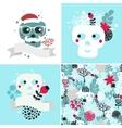 Winter skulls set vector image
