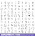 100 workplace icons set outline style vector image vector image