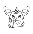black and white cute fennec fox in a party hat vector image vector image