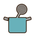 blue pot spatula frying kitchenware vector image