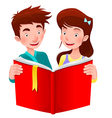 Boy and girl are reading a book vector image
