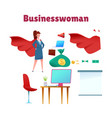 business woman red cape super hero vector image