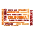 califirnia state cities names cloud vector image