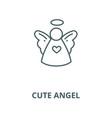christmas cute angel line icon christmas vector image