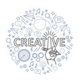 creative ideas concept line art hand with pencil vector image vector image