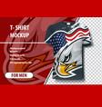 dynamic eagle on background usa flag vector image vector image
