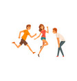 friends having fun and running together male and vector image vector image