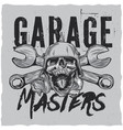 garage masters t-shirt label design vector image vector image