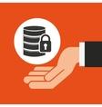 hands businessman data security padlock vector image vector image