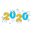 hands holding figures 2020 on white vector image vector image